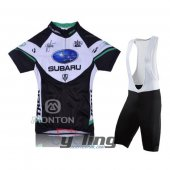 2011 Women Subaru Cycling Jersey And Bib Shorts Kit Black And Bl