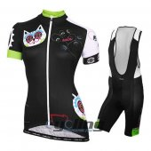 2015 Women Nalini Cycling Jersey And Bib Shorts Kit Black