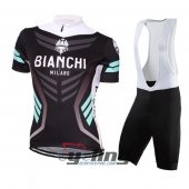 2016 Women Bianchi Cycling Jersey And Bib Shorts Kit Black