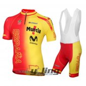 2016 Spain Arm Cycling Jersey And Bib Shorts Kit Yellow And Red