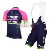 Lampre Cycling Jersey Kit Short Sleeve 2016 blue and rose
