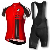 2016 Women Assos Cycling Jersey And Bib Shorts Kit Black And Red