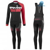 2016 Women Scott Long Sleeve Cycling Jersey And Bib Pants Kit Red And Black