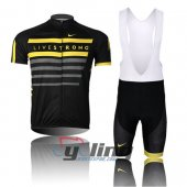 2013 LiveStrong Cycling Jersey And Bib Shorts Kit Black And Yell