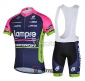 2014 Lampre Cycling Jersey And Bib Shorts Kit Blue And Red