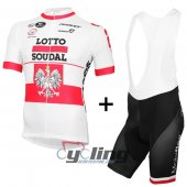 2016 Lotto Cycling Jersey And Bib Shorts Kit White And Red