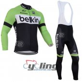2014 Belkin Long Sleeve Cycling Jersey And Bib Pants Kits Green And Black