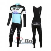 2016 Etixx Quick step Long Sleeve Cycling Jersey And Bib Pants Kits Black And Sky Blue