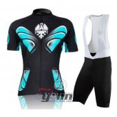 2011 Women Bianchi Cycling Jersey And Bib Shorts Kit Black And B