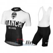 2016 Bianchi Cycling Jersey And Bib Shorts Kit Black And White