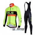 2016 ALE Long Sleeve Cycling Jersey And Bib Pants Kit Green And