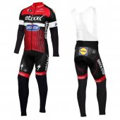 2016 Etixx Quick Step Long Sleeve Cycling Jersey And Bib Pants Kit Red And Black