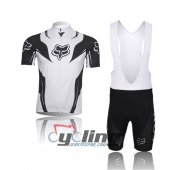 2013 Fox Cycling Jersey And Bib Shorts Kit White And Black