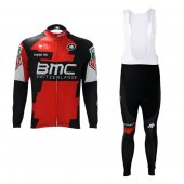 2017 BMC Long Sleeve Cycling Jersey and Bib Pants Kit red and green