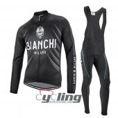 2016 Bianchi Long Sleeve Cycling Jersey And Bib Pants Kit Black