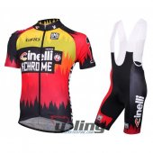 2016 Cinelli Cycling Jersey And Bib Shorts Kit Red And Yellow