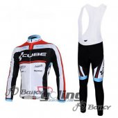 2012 Cube Long Sleeve Cycling Jersey And Bib Pants Kits White And Black