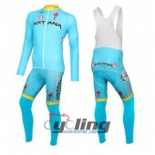 2016 Astana Long Sleeve Cycling Jersey and Bib Pants Kit Blue Yellow