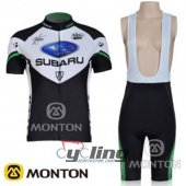 2011 Women Subaru Cycling Jersey And Bib Shorts Kit Black And Wh