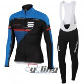 2016 Sportful Long Sleeve Cycling Jersey And Bib Pants Kit Black And Blue