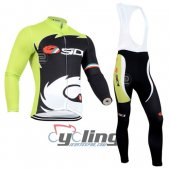2014 Sidi Long Sleeve Cycling Jersey And Bib Pants Kits Black An