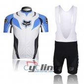 2013 Fox Cycling Jersey And Bib Shorts Kit White And Blue