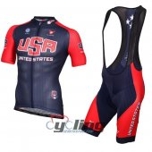 2013 USA Cycling Jersey And Bib Shorts Kit White And Blue