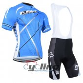 2014 Fox Cycling Jersey And Bib Shorts Kit White And Blue