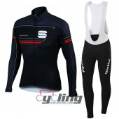 2016 Sportful Long Sleeve Cycling Jersey And Bib Pants Kit Blue And Black