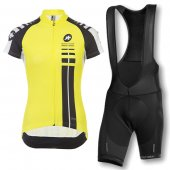 2016 Women Assos Cycling Jersey And Bib Shorts Kit Black And Yellow fadcd0341