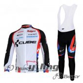 2011 Cube Long Sleeve Cycling Jersey And Bib Pants Kits White And Black