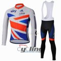 2013 Sky Long Sleeve Cycling Jersey And Bib Pants Kits White And
