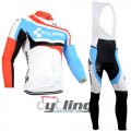 2014 Cube Long Sleeve Cycling Jersey and Bib Pants Kits White Sky Blue