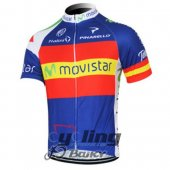2012 Movistar Team Cycling Jersey and Bib Shorts Kit Blue Re