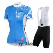 2015 Women SDSI Cycling Jersey And Bib Shorts Kit Blue And White