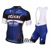 2016 Etixx Quick step Cycling Jersey And Bib Shorts Kit Black And Blue
