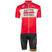 2017 Lotto Soudal Cycling Jersey and Bib Shorts Kit red