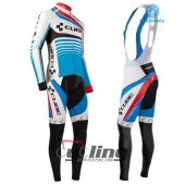 2016 Cube Long Sleeve Cycling Jersey And Bib Pants Kit Blue And White