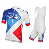 2016 FDJ Cycling Jersey And Bib Shorts Kit White And Red