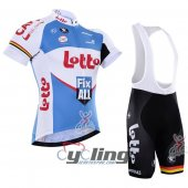 2016 Lotto Cycling Jersey And Bib Shorts Kit White And Blue