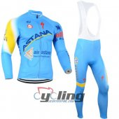 2014 Astana Long Sleeve Cycling Jersey and Bib Pants Kits Blue Yellow
