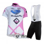2011 Women Subaru Cycling Jersey And Bib Shorts Kit Pink And Whi