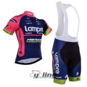 2015 Lampre Cycling Jersey And Bib Shorts Kit Blue And Pink
