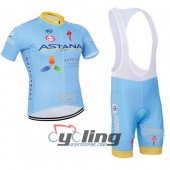 2016 Astana Cycling Jersey and Bib Shorts Kit Blue Yellow