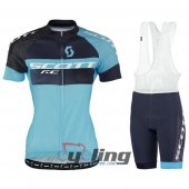 2016 Women Scott Cycling Jersey And Bib Shorts Kit Blue And Blac