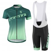 2016 Women Scott Cycling Jersey And Bib Shorts Kit Green And White