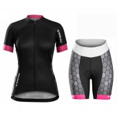 2016 Women Trek Cycling Jersey And Bib Shorts Kit Black And White