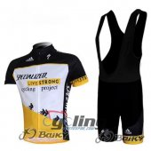 2010 LiveStrong Cycling Jersey And Bib Shorts Kit Black And Yell