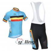 2013 Belgium Cycling Jersey And Bib Shorts Kit Blue And Black