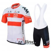 2017 IAM Cycling Jersey And Bib Shorts Kit White And Red